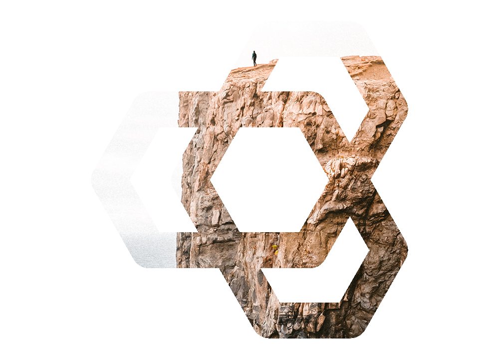 Bedrock Healthcare Communications logo with a cliff design.