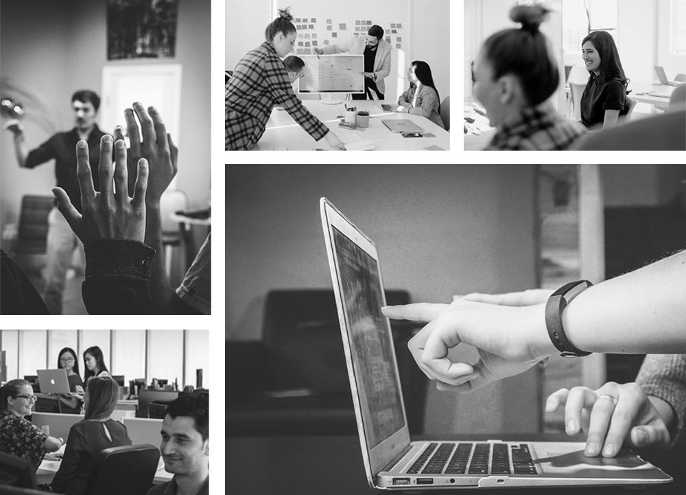 Black and white collage of 5 different photos. Person pointing to someone's laptop, a colleague delivering a presentation to their peers, people raising their hands to ask questions to the speaker, a work place with several people smiling and a focused image of a woman smiling.